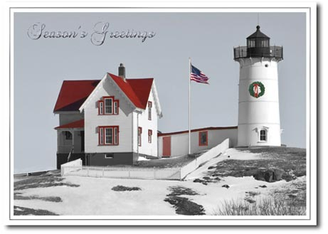 Nubble Holiday Lighthouse (25 cards & envelopes) Personalized Patriotic Boxed Holiday Cards