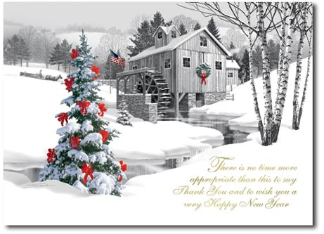 Pencil Drawn Water Mill (25 cards & envelopes) - Boxed Christmas Cards