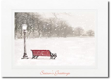 Red Bench with Lantern (25 cards & envelopes) - Boxed Holiday Cards