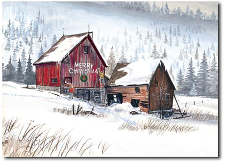 Merry Christmas Winter Barn (25 cards & envelopes) Personalized Boxed Christmas Cards