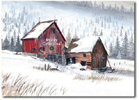 Merry Christmas Winter Barn (25 cards & envelopes) - Boxed Christmas Cards