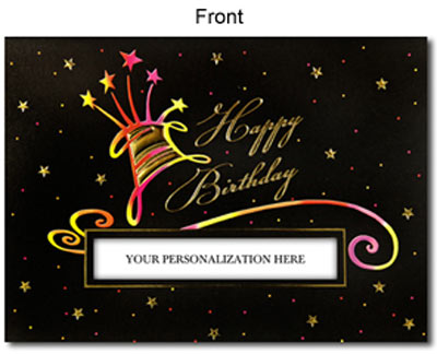 Die-Cut Happy Birthday Cake (25 cards & envelopes) Personalized Business Boxed Birthday Cards