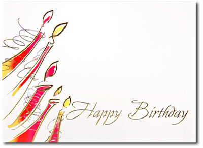 Happy Birthday Modern Candles (25 cards & envelopes) Personalized Business Boxed Birthday Cards