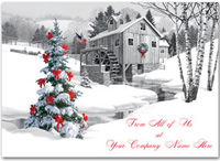 Water Mill on River Bank (25 cards & envelopes) - Boxed Holiday Cards