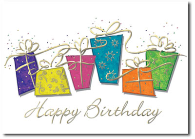 Sparkling Birthday Presents (25 cards & envelopes) Personalized Business Boxed Birthday Cards