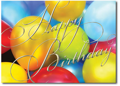 Multi-Colored Birthday Balloons (25 cards & envelopes) Personalized Business Boxed Birthday Cards