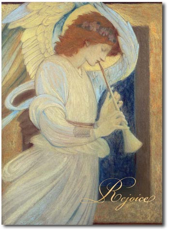 An Angel Playing a Flageolet (25 cards & envelopes) Personalized Religious Boxed Christmas Cards