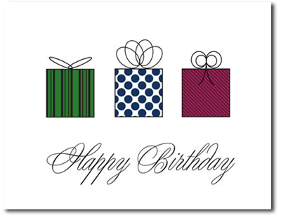 Mini Birthday Presents (25 cards & envelopes) Personalized Business Boxed Birthday Cards