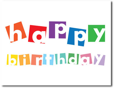 Happy Birthday Color Blocks (25 cards & envelopes) Personalized Business Boxed Birthday Cards
