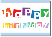 Colorful Birthday Blocks (25 cards & envelopes) Personalized Business Boxed Birthday Cards