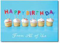 Happy Birthday Cupcakes (25 cards & envelopes) Personalized Business Boxed Birthday Cards
