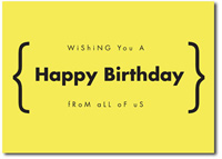Happy Birthday in Yellow (25 cards & envelopes) Personalized Business Boxed Birthday Cards