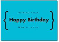 Happy Birthday in Blue (25 cards & envelopes) Personalized Business Boxed Birthday Cards