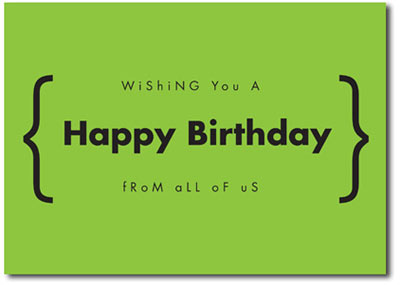 Happy Birthday in Green (25 cards & envelopes) Personalized Business Boxed Birthday Cards