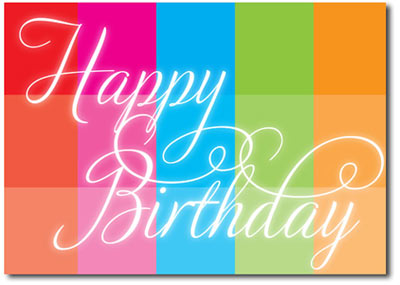 Happy Birthday Rainbow Block (25 cards & envelopes) - Boxed Birthday Cards