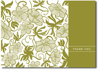 Tropical Pattern in Olive (25 cards & envelopes) Personalized Business Boxed Thank You Cards