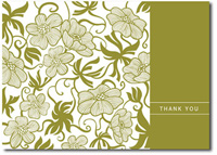 Tropical Pattern in Olive Box of 25 Thank You Cards