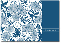 Tropical Pattern in Blue (25 cards & envelopes) Personalized Business Boxed Thank You Cards