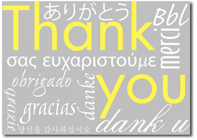 Gray Multi-lingual Thank You's (25 cards & envelopes) Personalized Business Boxed Thank You Cards