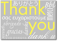 Gray Multi-lingual Thank You's Box of 25 Thank You Cards