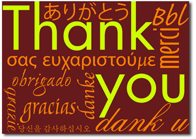 Burgundy Multi-lingual Thank You's (25 cards & envelopes) - Boxed Thank You Cards