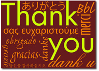 Burgundy Multi-lingual Thank You's (25 cards & envelopes) Personalized Business Boxed Thank You Cards