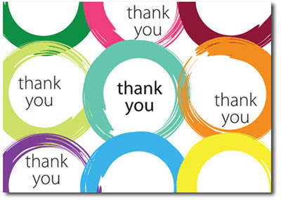 Brush Stroke Thank You (25 cards & envelopes) Personalized Business Boxed Thank You Cards