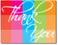 Rainbow Color-Block Thank You (25 cards & envelopes) Personalized Business Boxed Thank You Cards