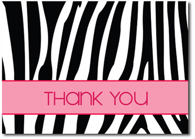 Thank You Zebra (25 cards & envelopes) Personalized Business Boxed Thank You Cards