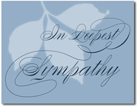 Muted Sympathy in Blue (25 cards & envelopes) Personalized Business Boxed Sympathy Cards