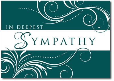 Scrolling Sympathy in Deep Teal (25 cards & envelopes) - Boxed Sympathy Cards