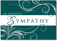 Scrolling Sympathy in Deep Teal (25 cards & envelopes) Personalized Business Boxed Sympathy Cards
