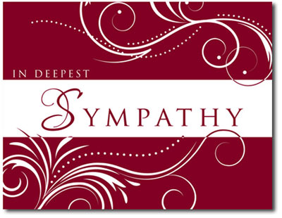 Mini Scrolling Sympathy in Cranberry (25 cards & envelopes) - Boxed Sympathy Cards