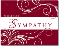 Mini Scrolling Sympathy in Cranberry (25 cards & envelopes) Personalized Business Boxed Sympathy Cards