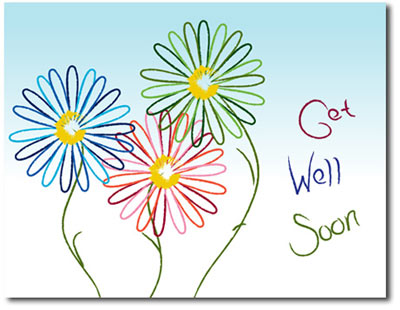 Sketched Daisies (25 cards & envelopes) - Boxed Get Well Cards
