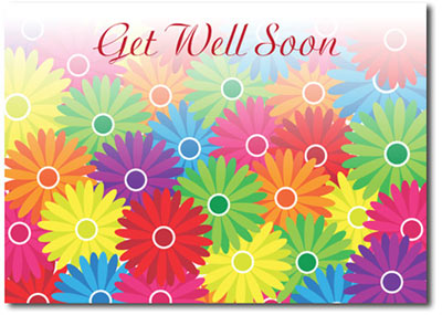 Colorful Daisies (25 cards & envelopes) Personalized Business Boxed Get Well Cards