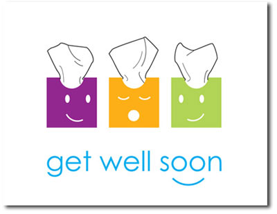 Tissue Boxes (25 cards & envelopes) - Boxed Get Well Cards