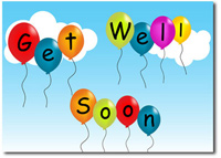 Get Well Soon Balloons (25 cards & envelopes) Personalized Business Boxed Get Well Cards