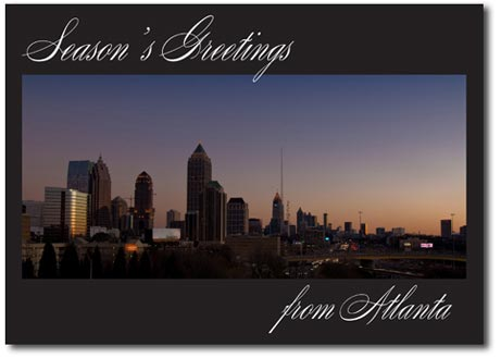 Atlanta at Dusk (25 cards & envelopes) Personalized Georgia Boxed Holiday Cards