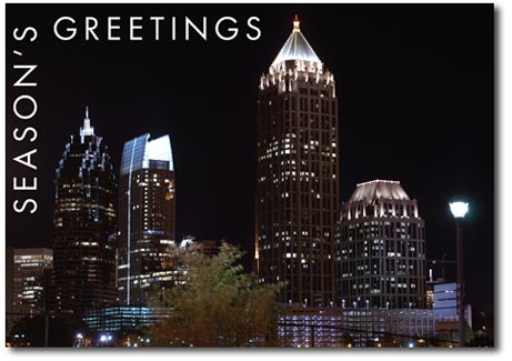 Atlanta at Night (25 cards & envelopes) Personalized Georgia Boxed Holiday Cards