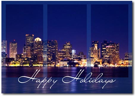 Boston Skyline (25 cards & envelopes) Personalized Massachusetts Boxed Holiday Cards