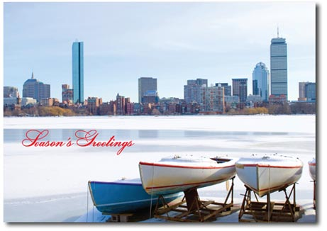 Charles River (25 cards & envelopes) Personalized Boston Massachusetts Boxed Holiday Cards