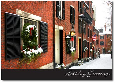 Beacon Hill (25 cards & envelopes) Personalized Boston Massachusetts Boxed Holiday Cards