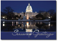 The Capitol at Christmastime (25 cards & envelopes) Personalized Washington, DC Business Boxed Christmas Cards