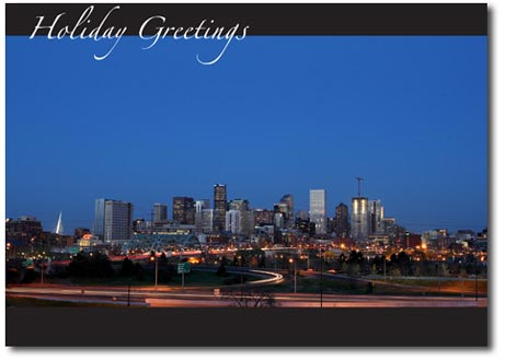 Denver Skyline (25 cards & envelopes) Personalized Colorodo Boxed Holiday Cards