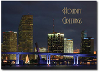 Miami at Night (25 cards & envelopes) Personalized Florida Boxed Holiday Cards