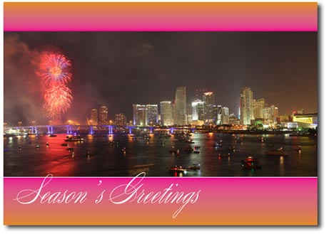 Fireworks Over Miami (25 cards & envelopes) - Boxed Holiday Cards