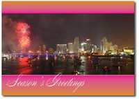 Fireworks Over Miami (25 cards & envelopes) Personalized Florida Boxed Holiday Cards