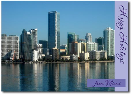 Miami Skyline (25 cards & envelopes) Personalized Florida Boxed Holiday Cards