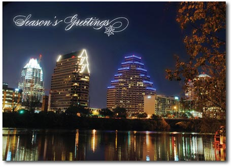 Austin at Night (25 cards & envelopes) Personalized Texas Boxed Holiday Cards